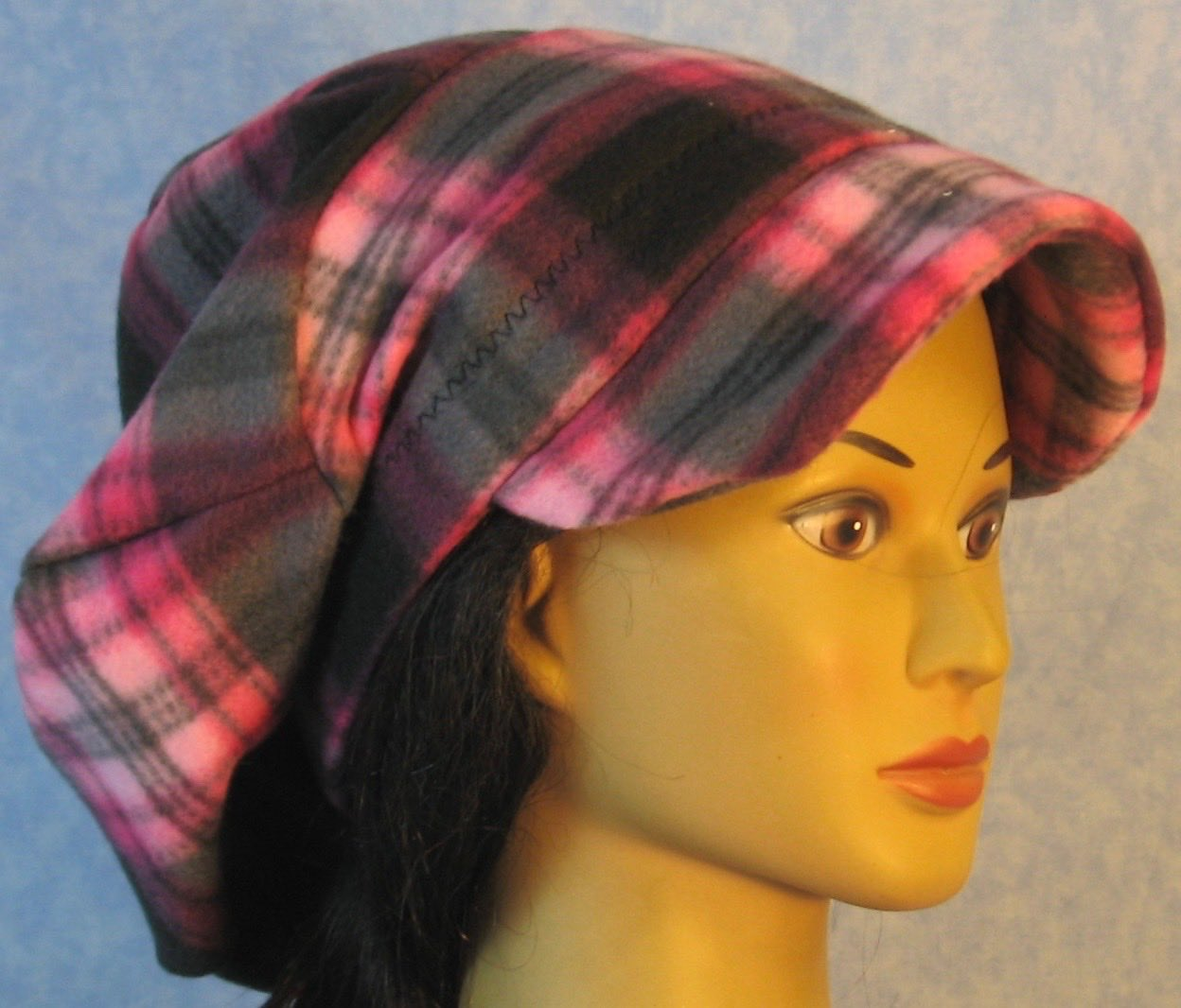 Newsboy Hat in Pink Black Plaid-Adult L