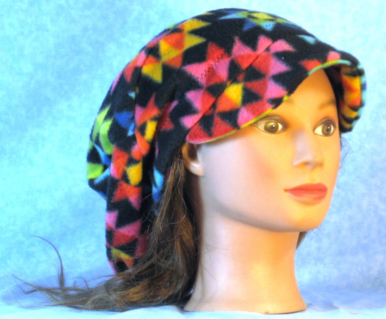 Newsboy Hat in Red Blue Yellow Triangle-Adult L