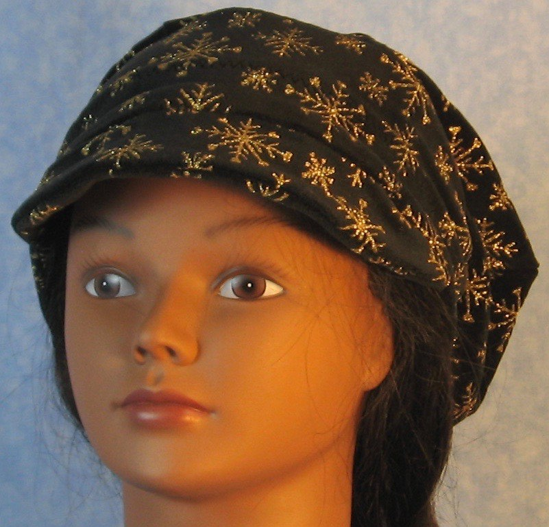 Newsboy Hat in Snowflake Black Velvet-Adult M