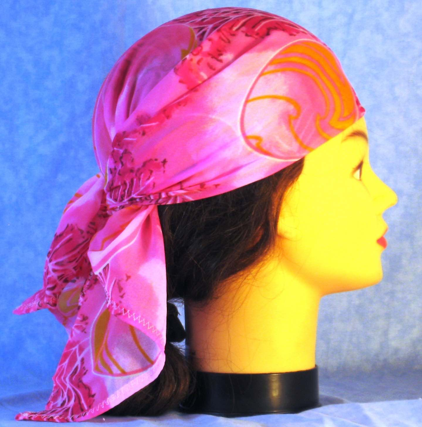 Head Wrap in Pink Grass Yellow Ball