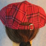 Flat Cap in Pink Lavender Plaid Flannel - back