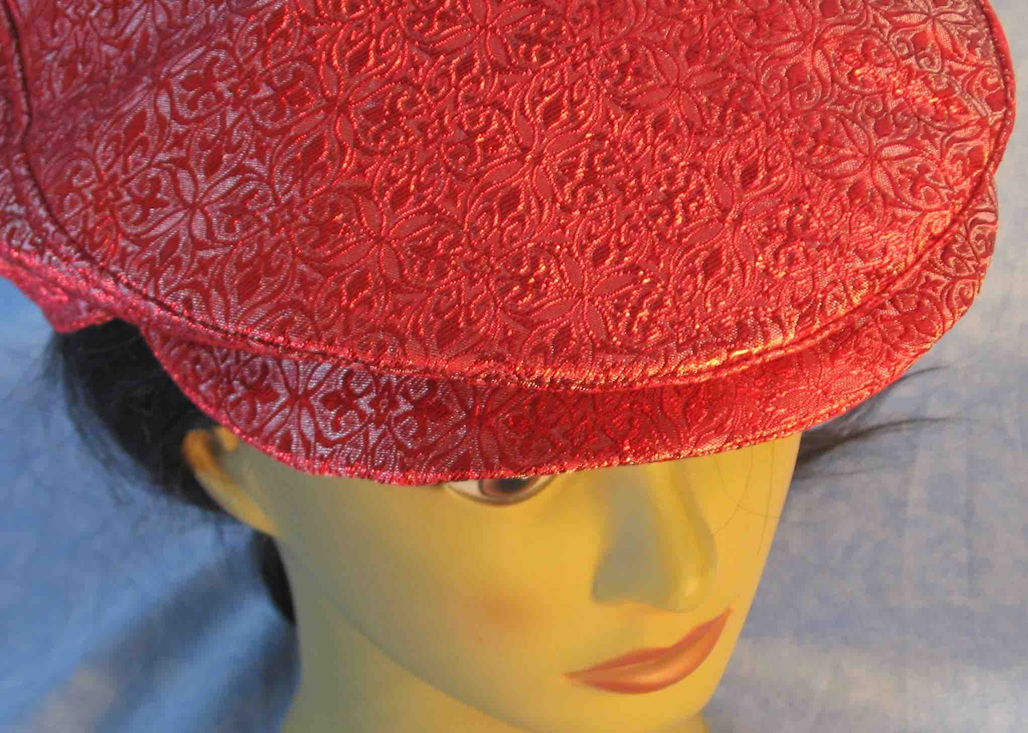 Flat Cap in Red White Medallion Brocade - Adult M-XL