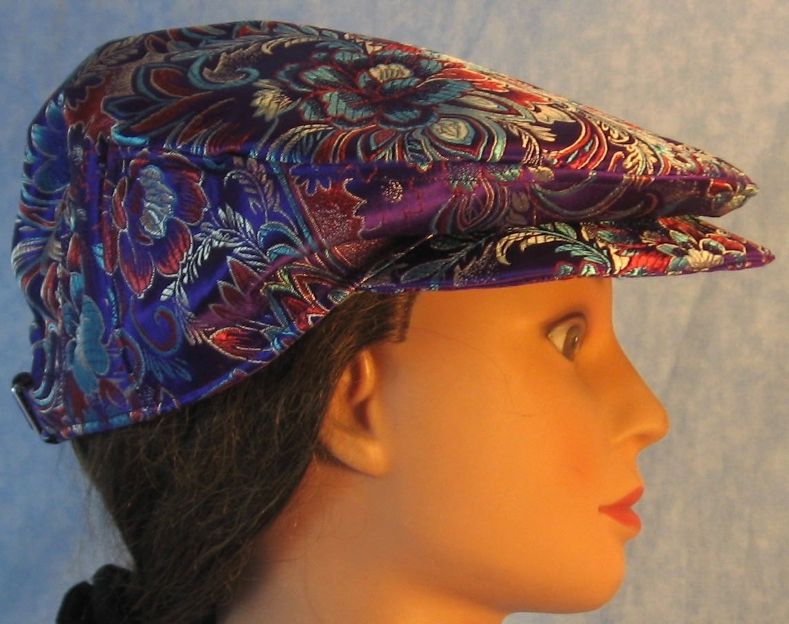 Flat Cap in Turquoise Red Flowers on Purple Brocade - Adult M-XL