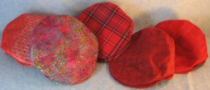 Flat Caps set of 5 Red Pink