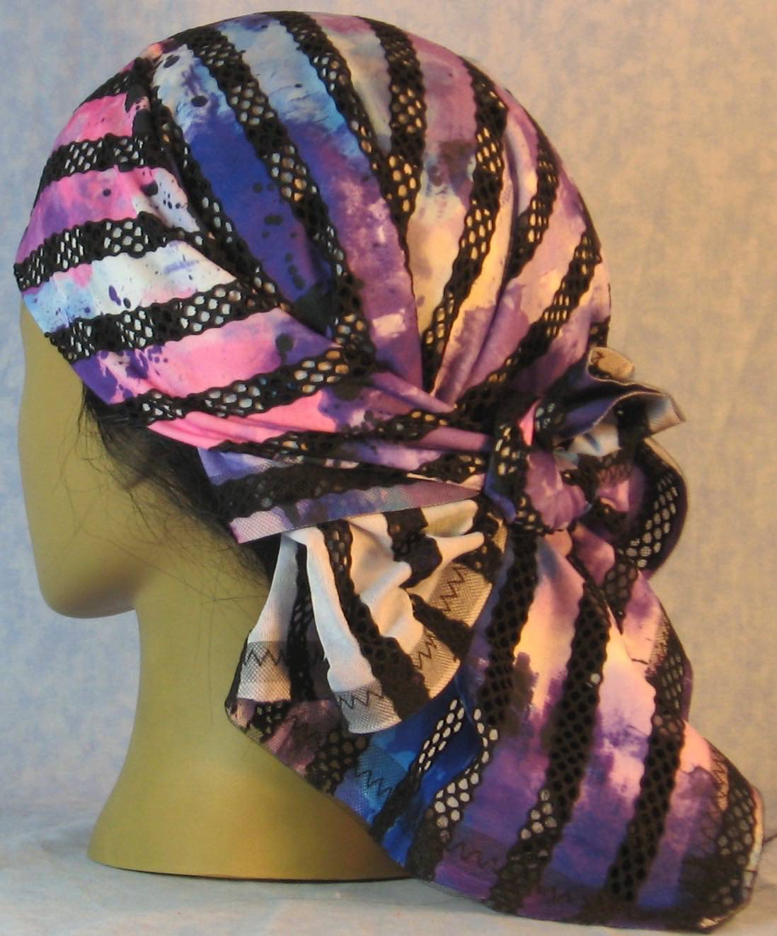 Head Wrap in Black Purple Stripe Loops