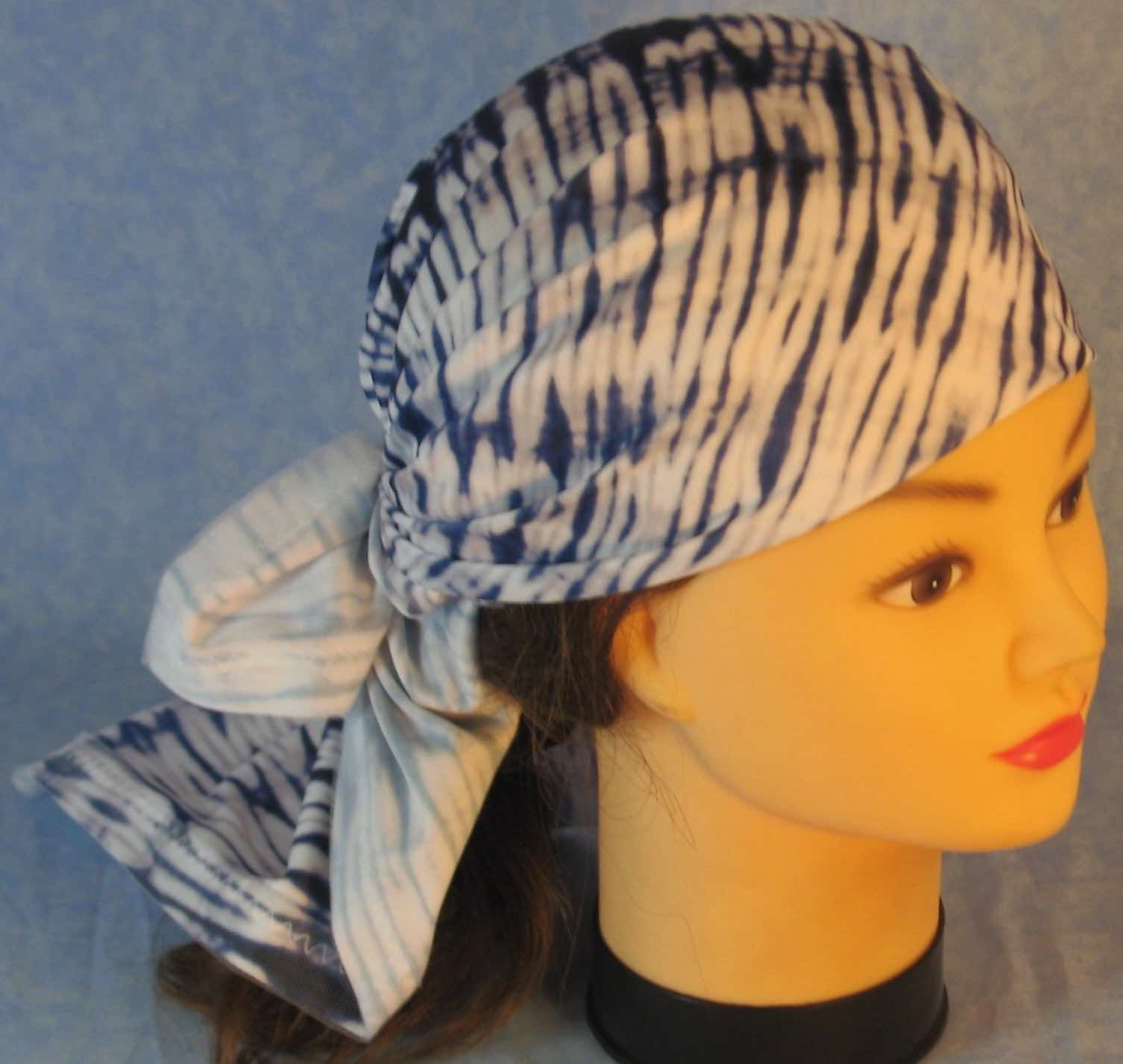Head Wrap in Blue White Knit With White Tulle
