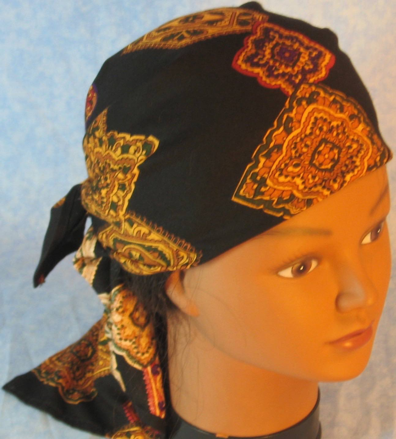 Head Wrap in Gold Medallions on Black