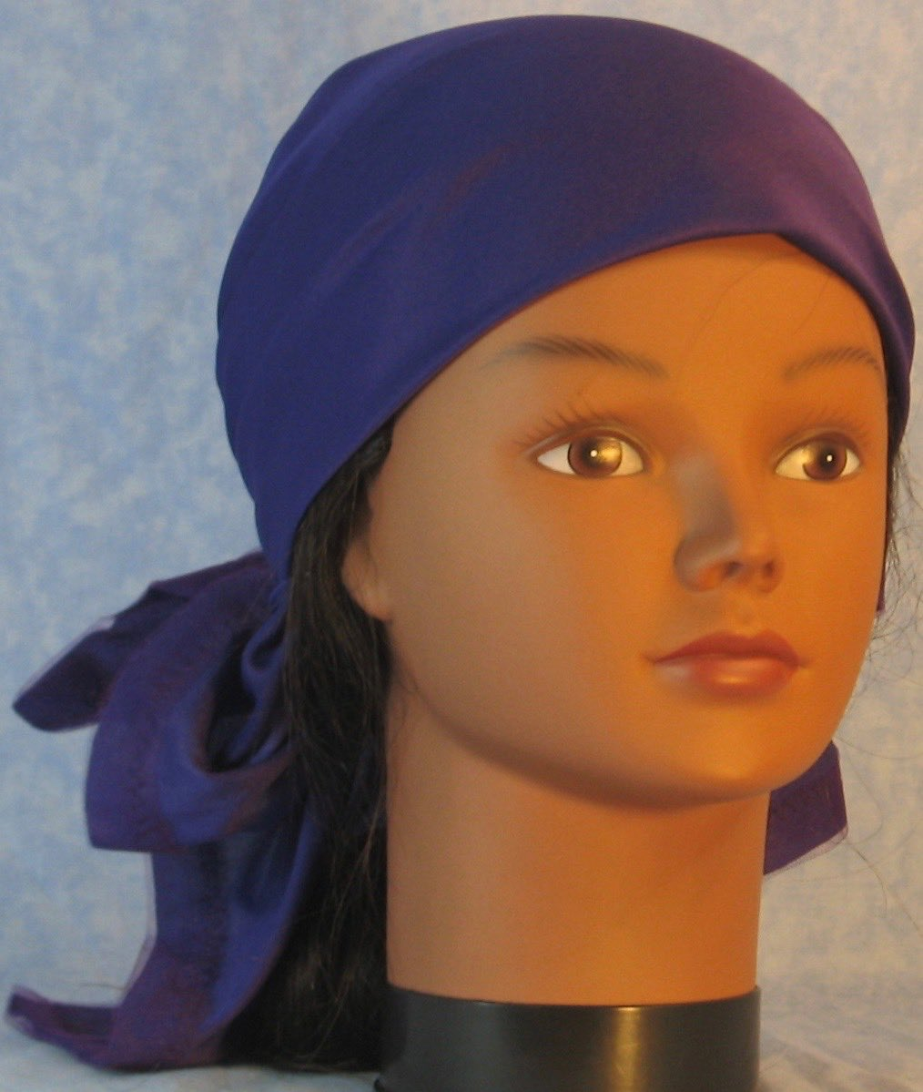 Head Wrap in Purple with Tulle