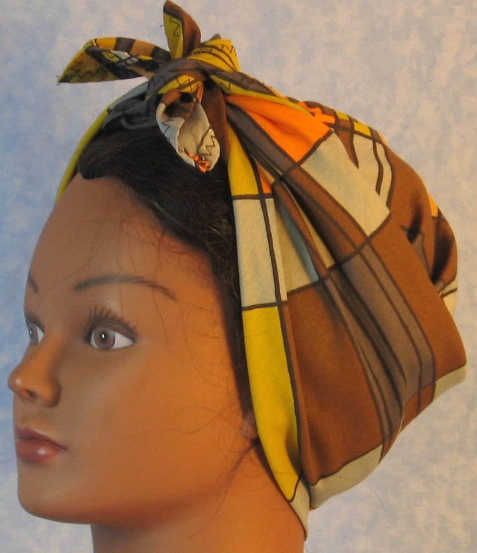 Head Wrap in Yellow Brown Orange Gray Geometric