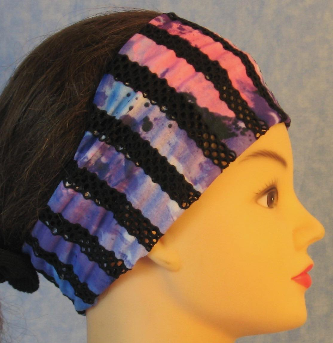 Headband-Black Purple Stripe Loops Performance Knit-Adult S
