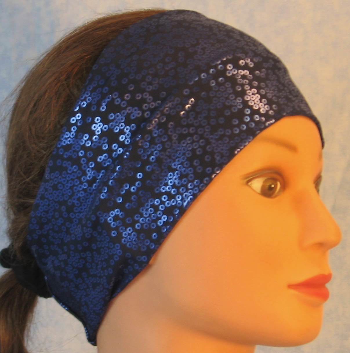 Headband-Blue Blue Sequin Imprint Performance Knit-Adult M