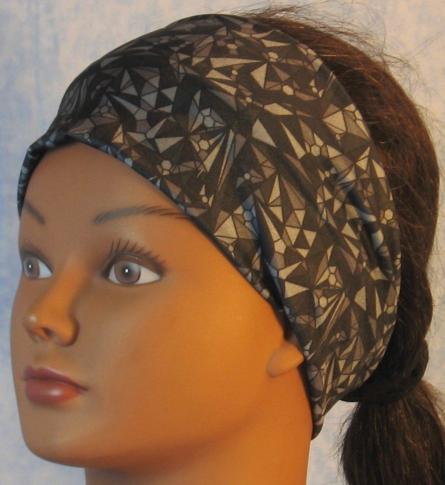 Headband-Gray Black Geometric Triangle Circle Performance Knit-Adult M