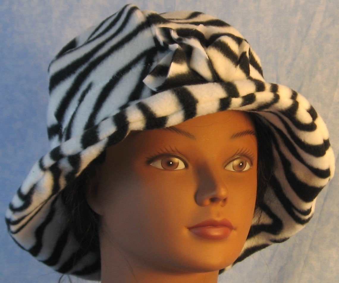 Cloche Hat in Black White Zebra-Adult L