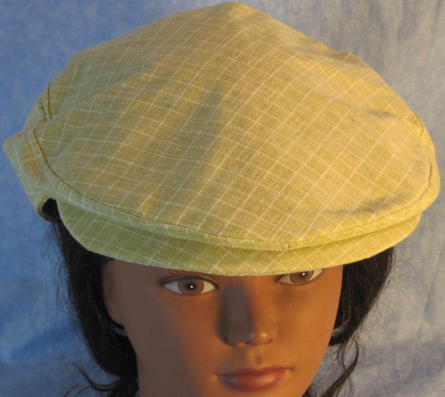 Flat Cap in Light Green With White Line Grid Linen - Adult M-XL