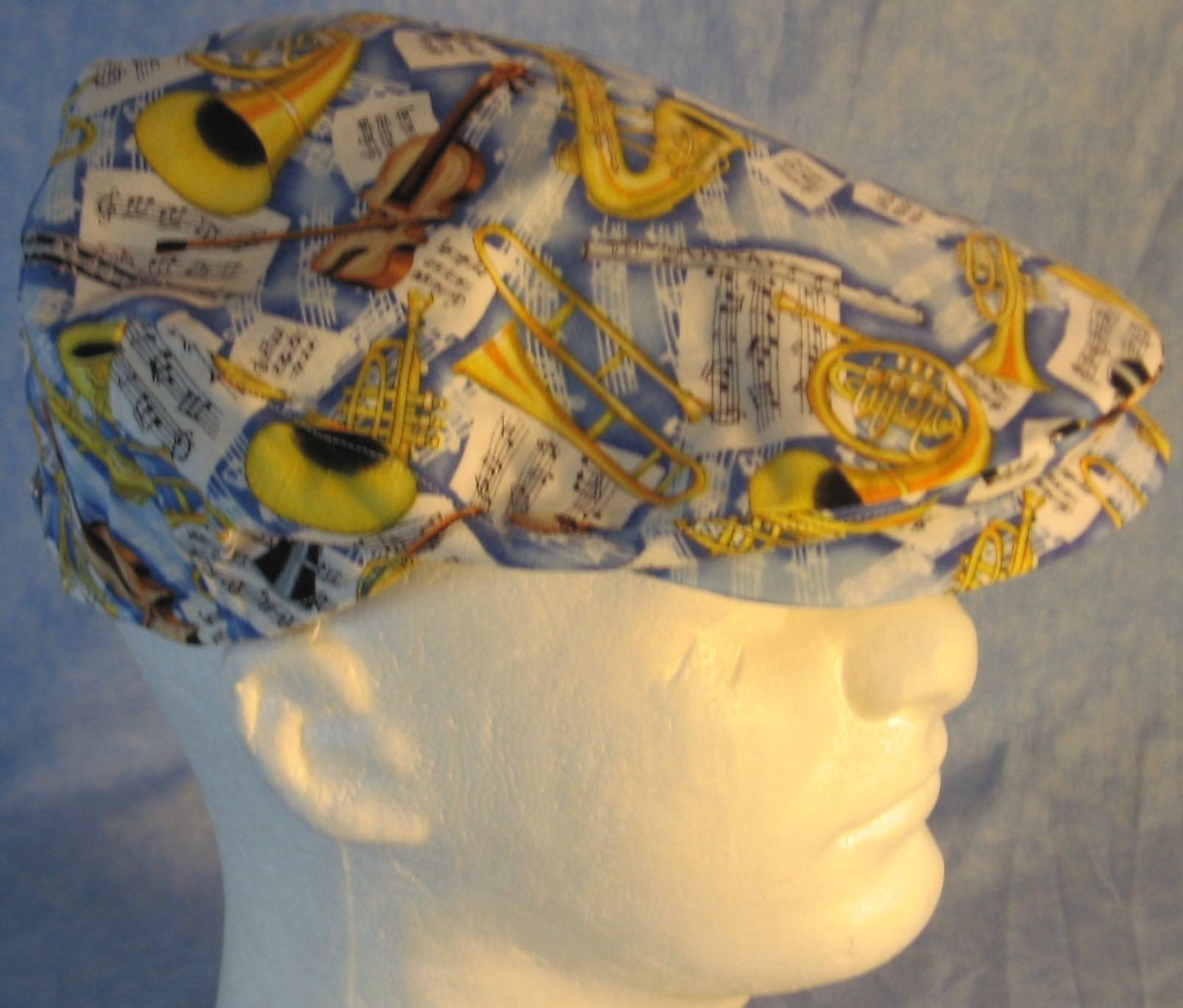 Flat Cap in Music Horns Violin Yellow On Blue - Adult M-XL