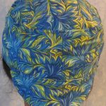 Welding Cap in Blue Green Yellow Scrolly Leaf-back