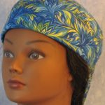 Welding Cap in Blue Green Yellow Scrolly Leaf-front