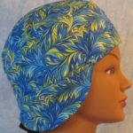 Welding Cap in Blue Green Yellow Scrolly Leaf-side