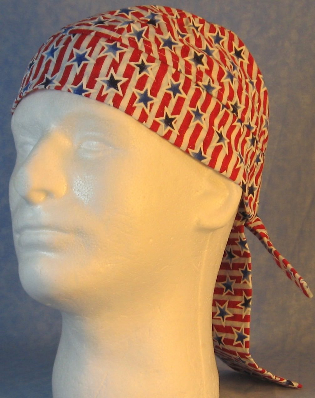 Do Rag in Blue Outlined Stars Red White Stripes-Youth L-XL-Adult S