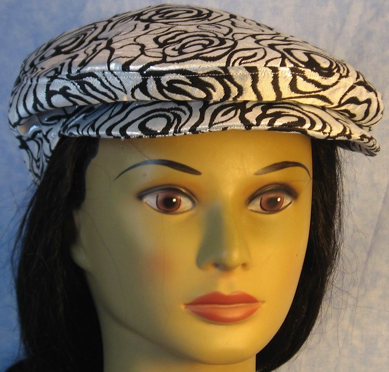 Flat Cap in Black Line Roses on Silver Brocade - Adult M-XL