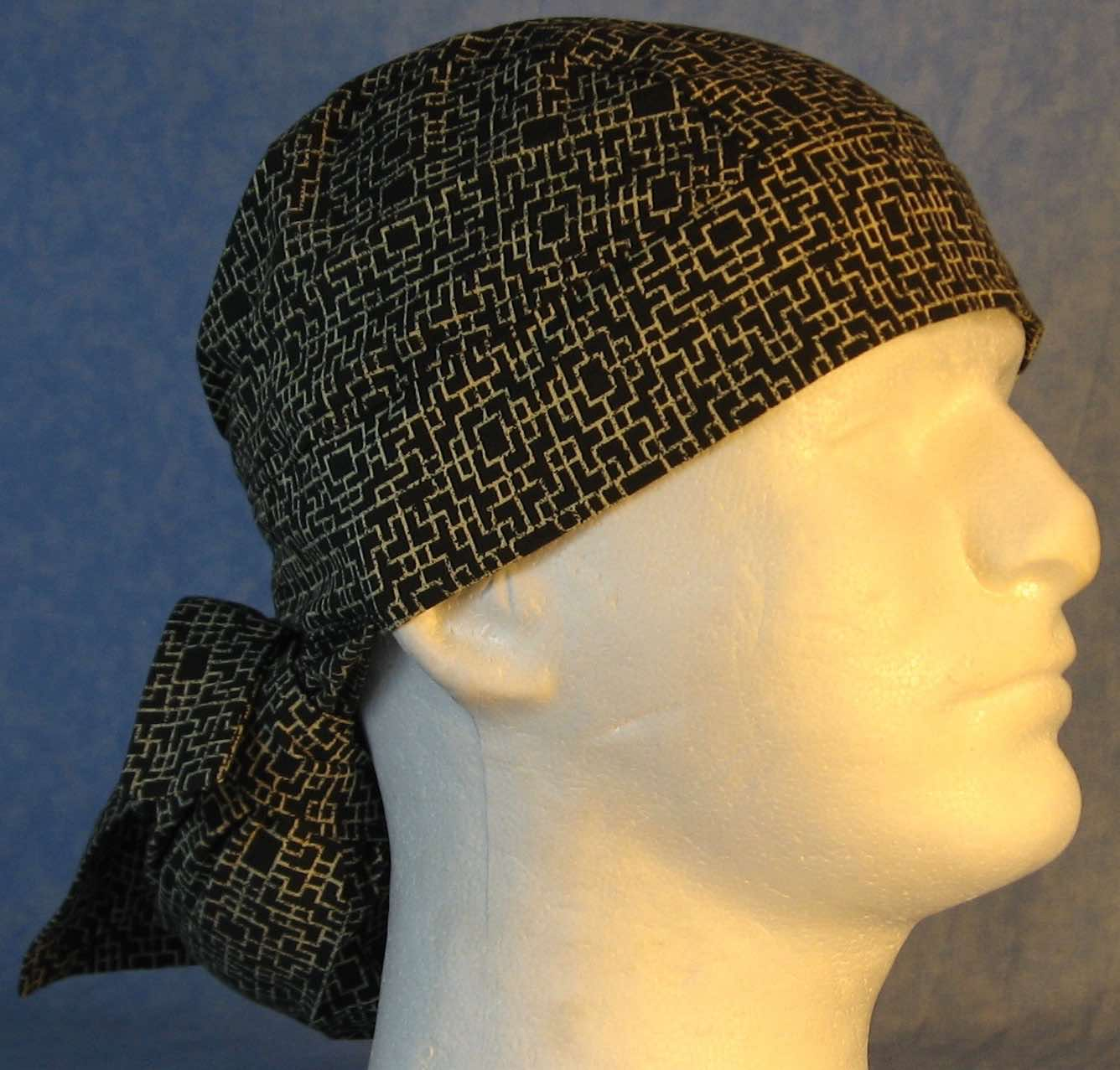 Hair Bag Do Rag in Brown with Cream Geometric Line Design - Adult M-XL