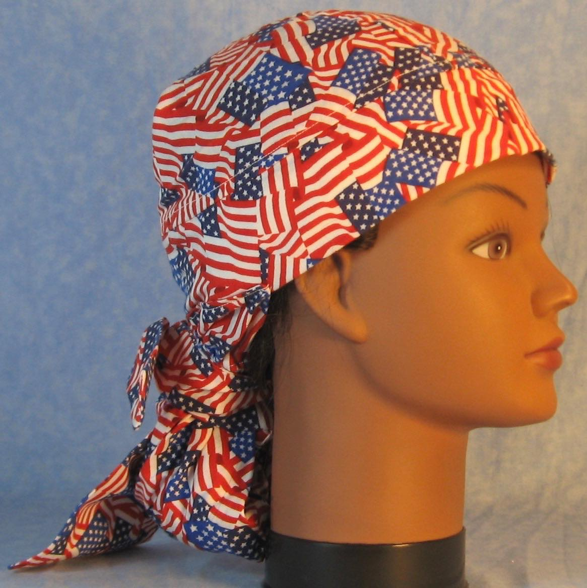 Hair Bag Do Rag in Flags Overall 2 Blue Colors - Adult M-XL