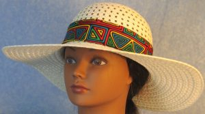 Hat Band in Blue Green Yellow Red Geometric Shapes with Red Ties-front