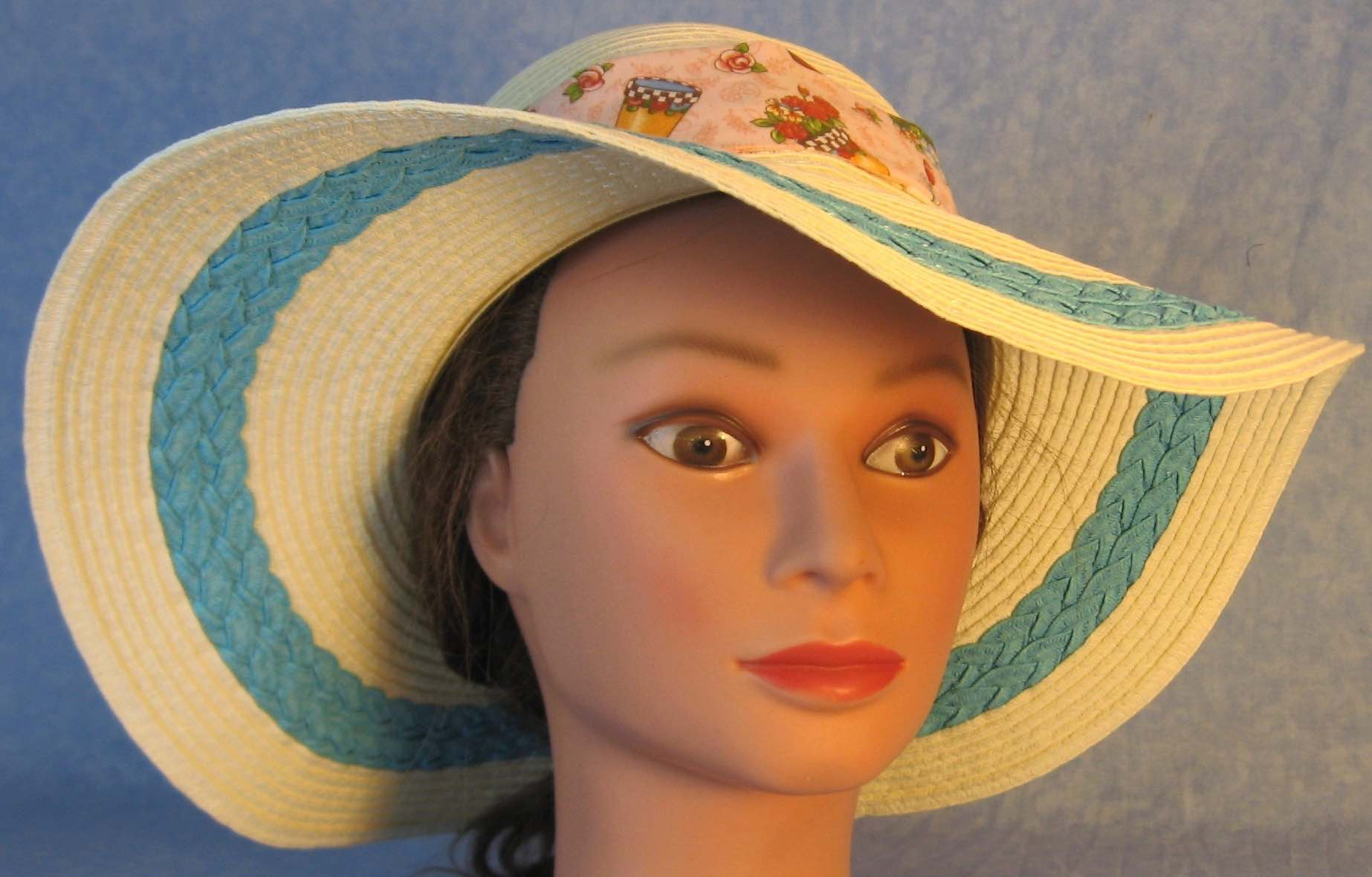 Floppy Hat-Ivory with Blue Full Paper Braid-4