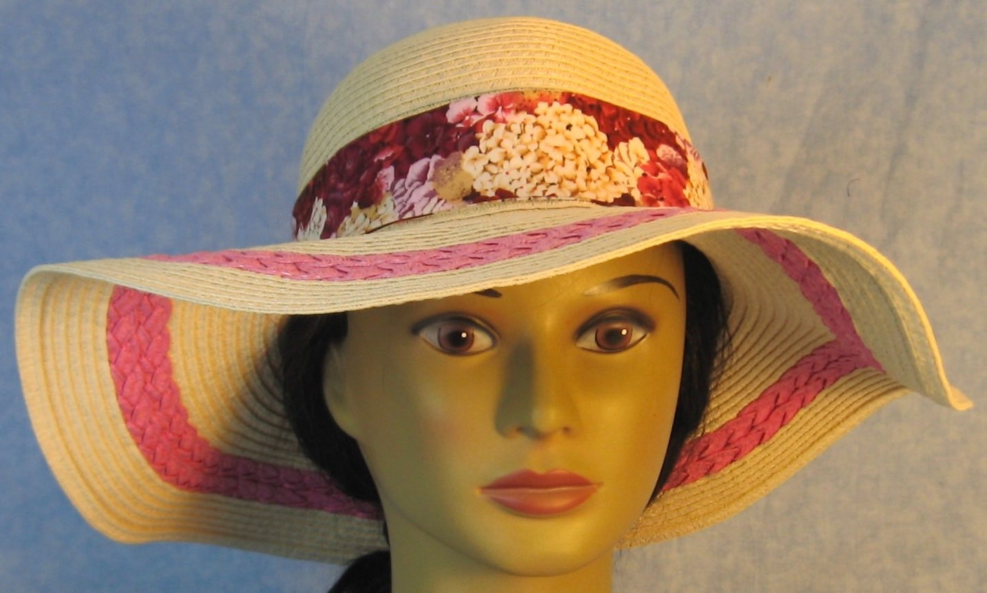 Floppy Hat-Tan with Pink Full Paper Braid-4