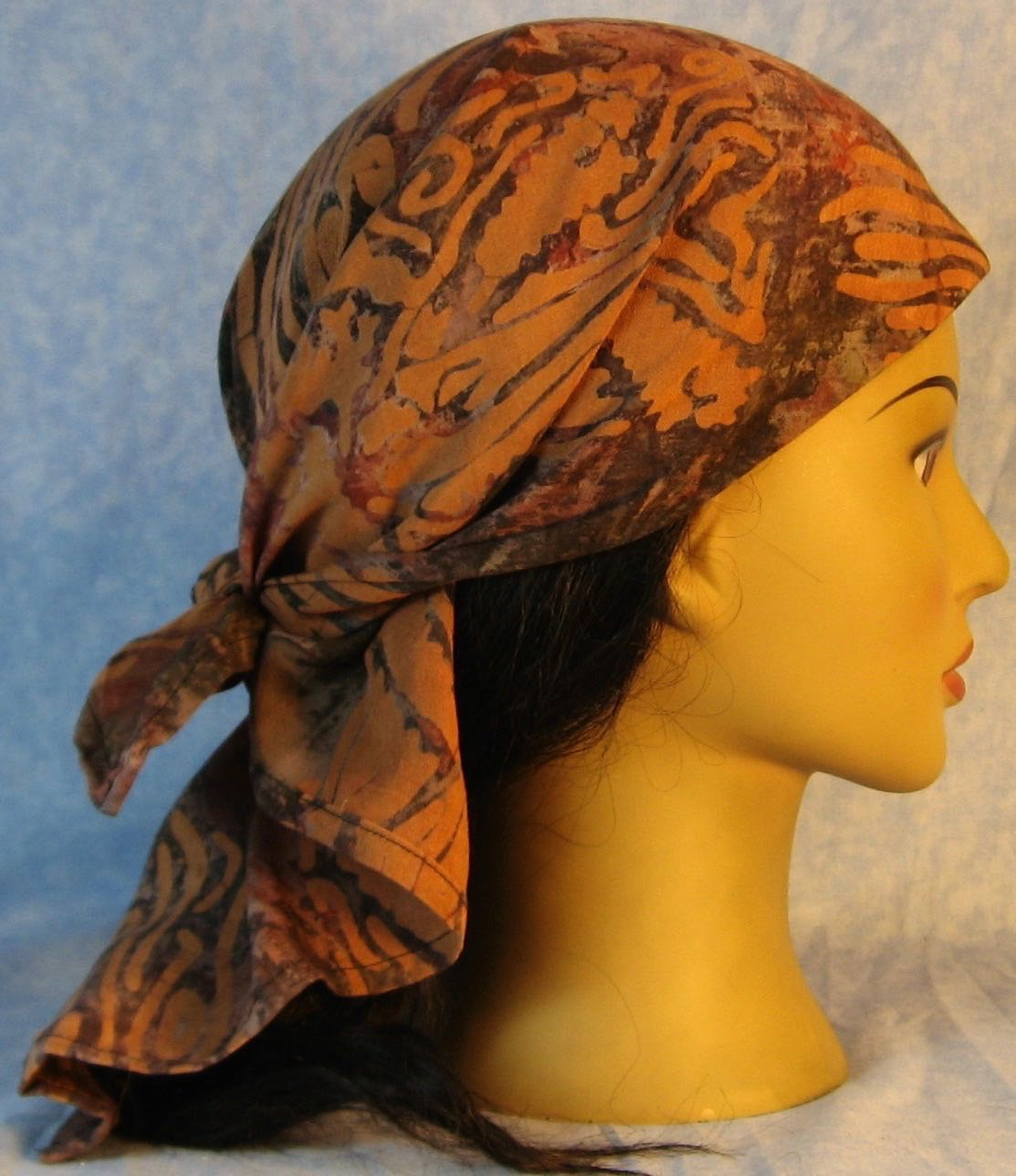 Head Wrap in Brown Gray with Brown Stamp