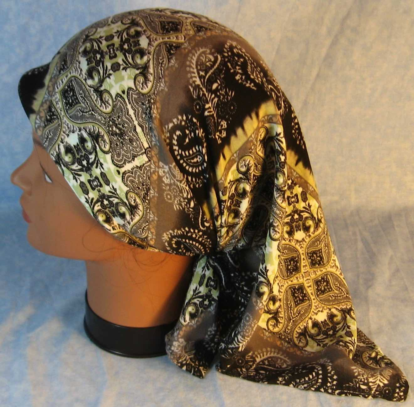 Head Wrap in Green Gray Black Stripe Black Work