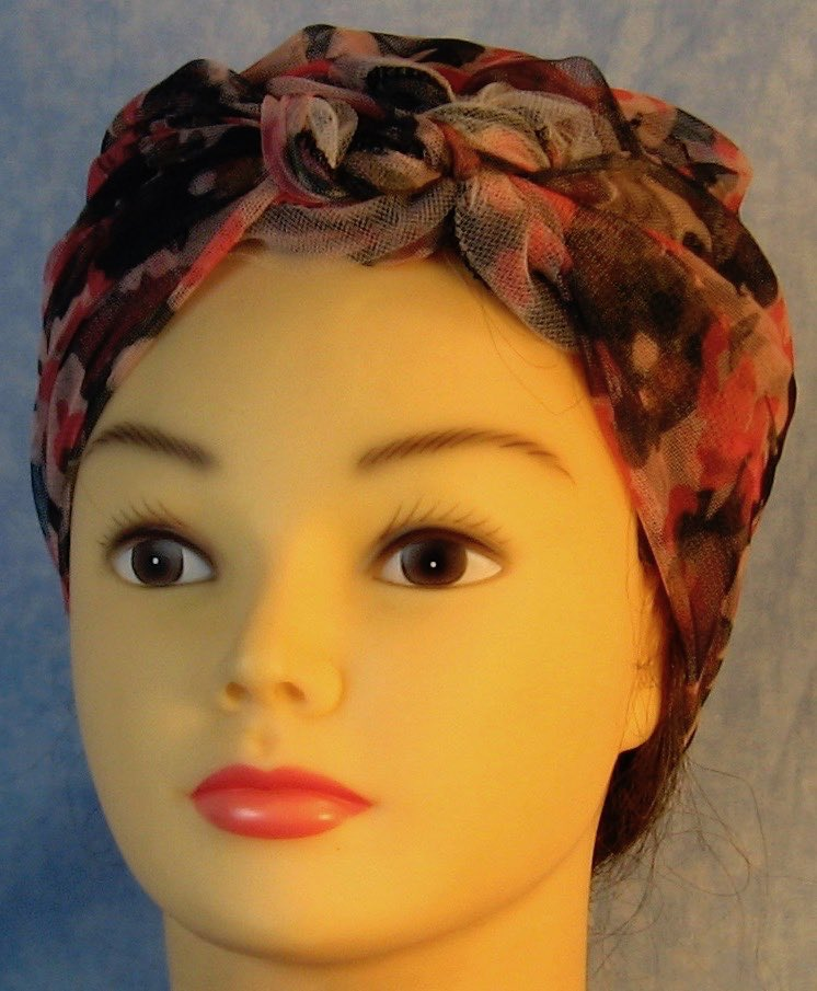 Head Wrap in Pink Camo with Tulle