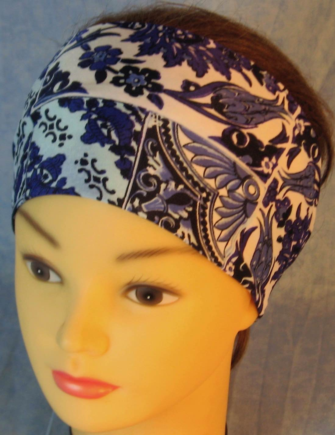 Headband-Blue White Flower Tiles Performance Knit-Adult M