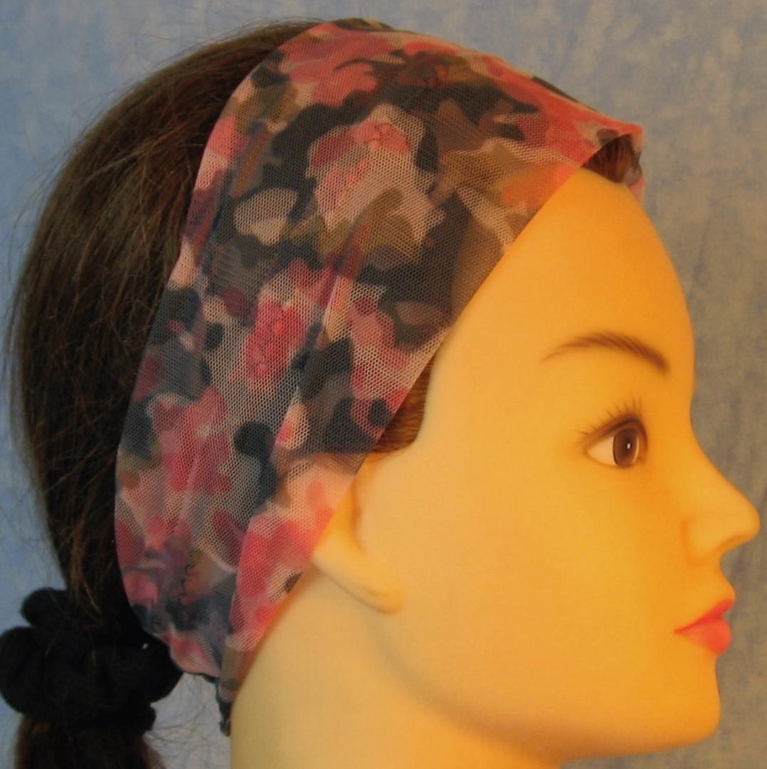 Headband-Pink Camo with Tulle-Adult S