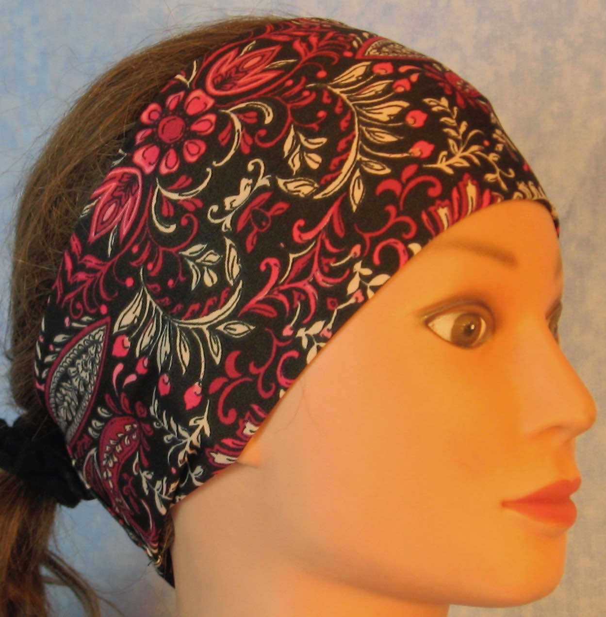 Headband-Pink Flower Paisley Leaves on Black Performance Knit-Adult M