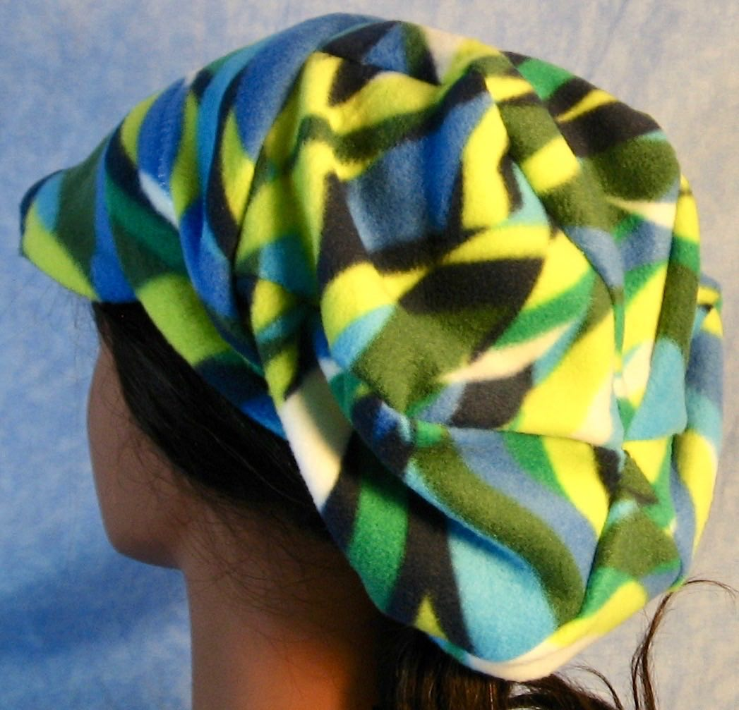 Newsboy Hat in Blue Green White Wave-Adult M
