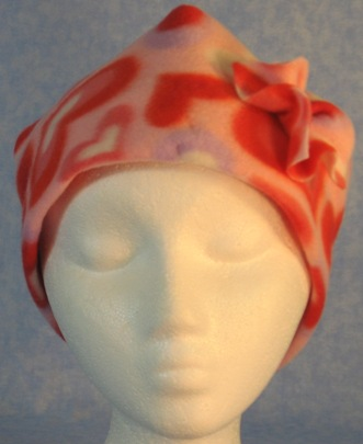 Cap with Flower in Pink Hearts Print