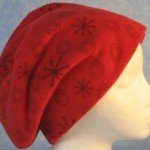 Long Hat in Red Snowflakes - unrolled