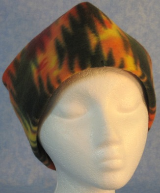 Short Cap in Yellow and Red Fire Print