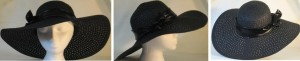 Wide brim hat in black paper braid with black band