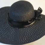 Wide brim hat in black paper braid with black band-back