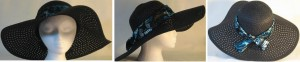 """Wide brim hat is black, paper braid with 5"""" brim shown with butterfly band"""