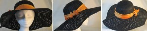 Wide brim hat in black paper braid with orange band