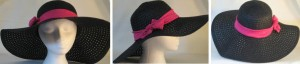 Wide brim hat in black paper braid with pink band