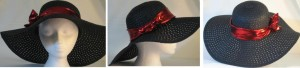 Wide brim hat in black paper braid with red band