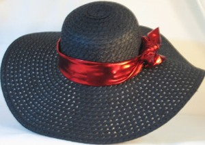 Wide brim hat band - shiny red