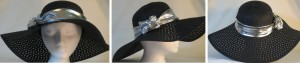 Wide brim hat in black paper braid with silver band