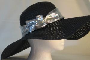 Wide brim hat band - shiny silver
