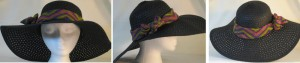 Wide brim hat in black paper braid with V's band