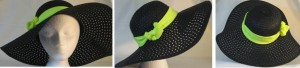 Wide brim hat in black paper braid with yellow band